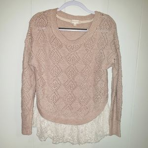 Altar'd State Sweater with Lace Trim
